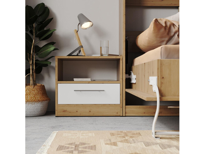 Bedside table Basic/Standard 45cm with a drawer Wild Oak/ White