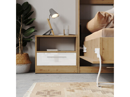 Bedside table Basic/Standard 45cm with a drawer Wild Oak/...