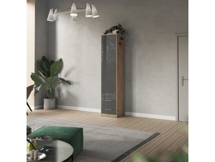 SMARTBett cabinet 50cm in wild oak / anthracite high glossy