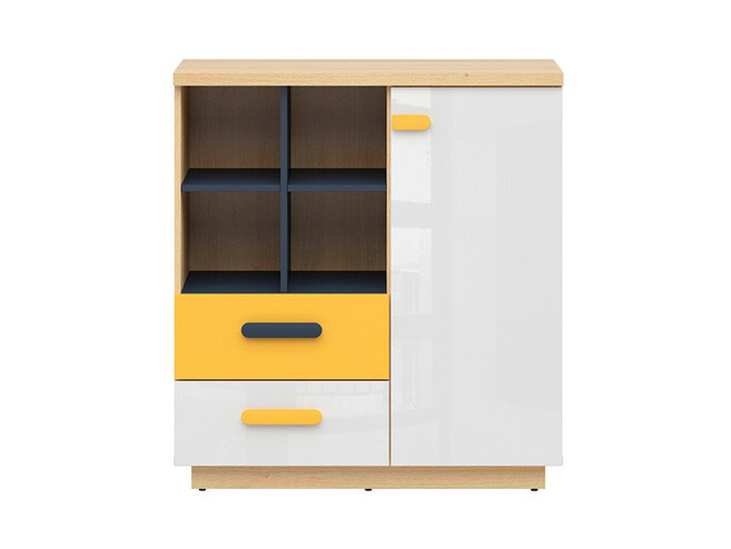 WEKKER chest of drawers with 1 door 2 drawers oak / navy blue / white gloss / yellow