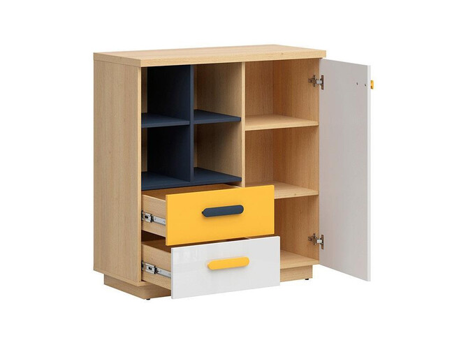 WEKKER chest of drawers with 1 door 2 drawers oak/navy blue/white gloss/yellow