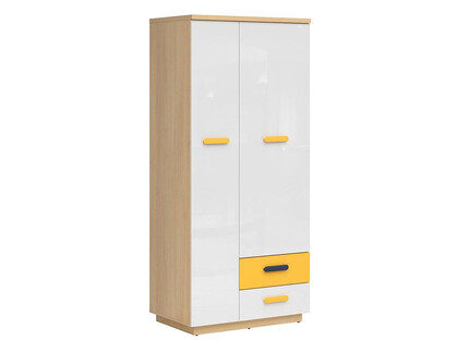 WEKKER wardrobe with 2 doors, 2 drawers oak / navy blue /...