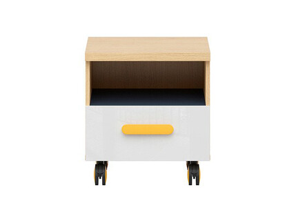 WEKKER roll container in oak / navy blue / white gloss /...