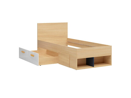 WEKKER cot single bed in oak / navy blue