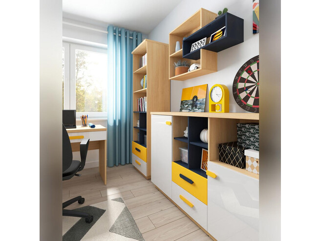 WEKKER youth room worpspace 4-part. in oak / navy blue / white gloss / yellow
