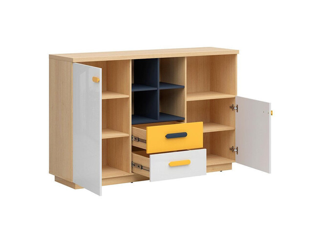 WEKKER youth room study 4-part. in oak / navy blue / white gloss / yellow