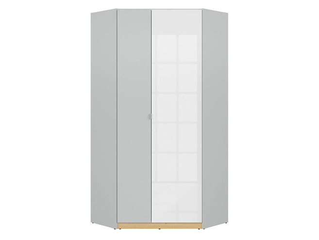 NANDI corner wardrobe 2-door in light gray / oak / white high gloss