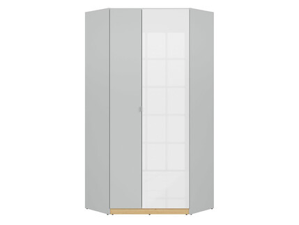 NANDI corner wardrobe 2-door in light gray / oak / white...