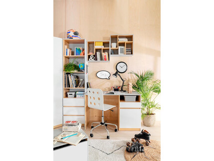 NANDI youth`s room 4-pcs. gray / oak / gloss white