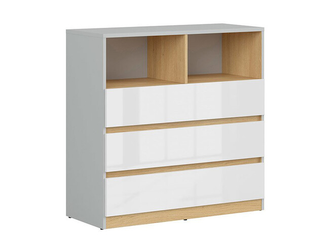 NANDI study youth room childrens room, 13 pcs. light gray/oak/white high gloss