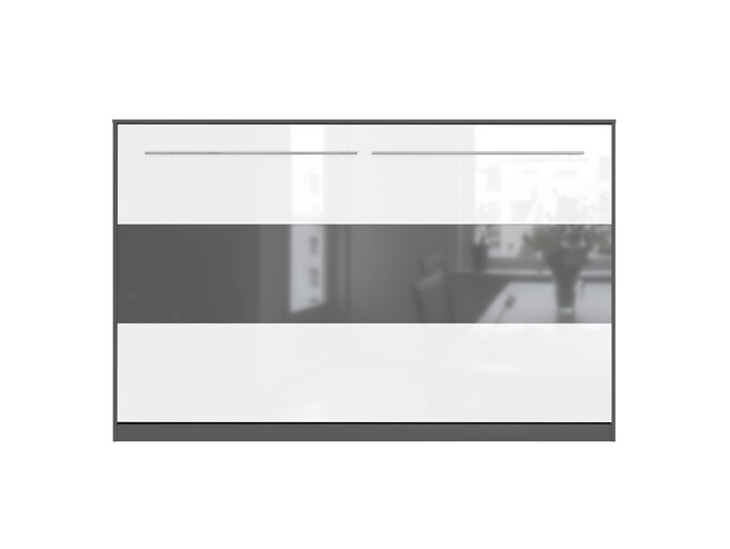 SMARTBett Folding wall bed Standard 120x200 Horizontal Anthracite / white high gloss & anthracite high gloss with Gas pressure Springs