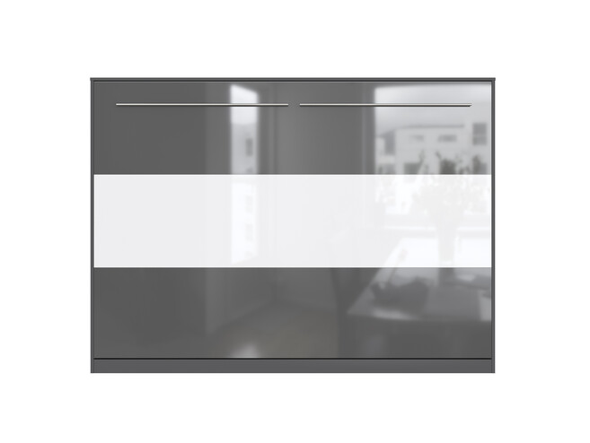 SMARTBett Folding wall bed Standard 140x200 Horizontal Anthracite / Anthracite&White high gloss front with pneumatic pressure Springs