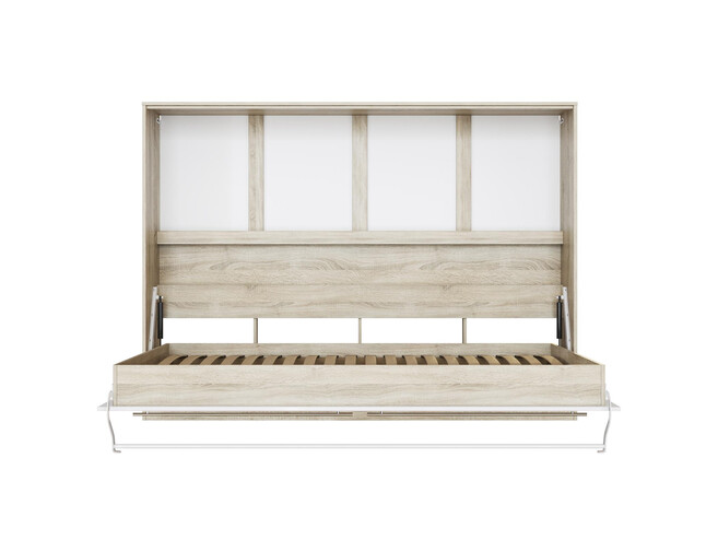 SMARTBett Folding wall bed Standard 140x200 Horizontal Oak Sonoma /White & Anthracite high gloss front with pneumatic pressure Springs