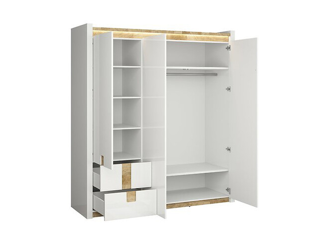 Alamena 04 bedroom 4-part. with LED in white gloss / oak Westminster