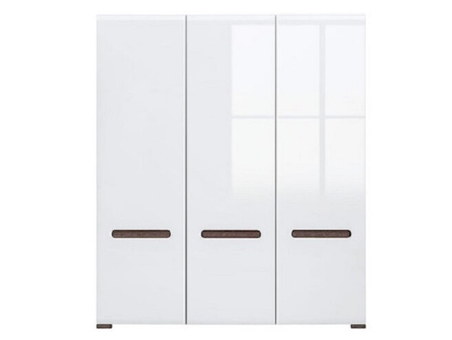 Wardrobe Azteca with 3 doors white / white with gloss front
