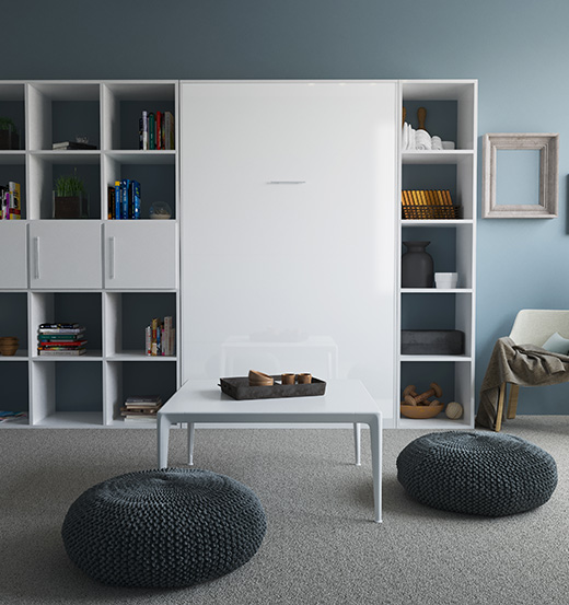 smartbett schrankbett basic 120x200 vertikal weiss weiss hochglanzfro 989 95. Black Bedroom Furniture Sets. Home Design Ideas